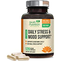 Stress Support Supplement 1000mg, Natural Herbal Formula for Calm, Positive Mood, Relaxation - Made in USA - with Ashwagandha, Niacin, L-Theanine, Rhodiola Rosea, 5-Htp - 120 Capsules