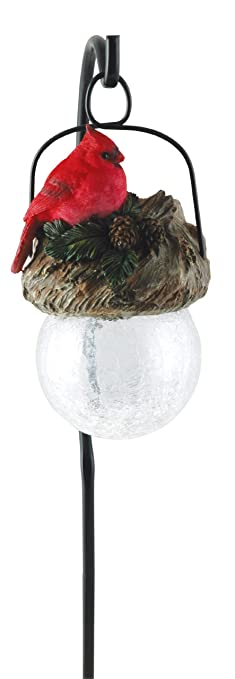 Moonrays 92260 Cardinal Bird Sits On Hanging Glow Ball Solar Light, Garden