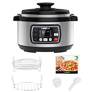 GoWISE USA GW22708 Ovate 8.5-Quart 8-in-1 Programmable Pressure, Slow, Rice, Yogurt Maker, Egg Cooker, Saute, Steamer, Warmer + Accessories and Recipes, QT, Stainless Steel