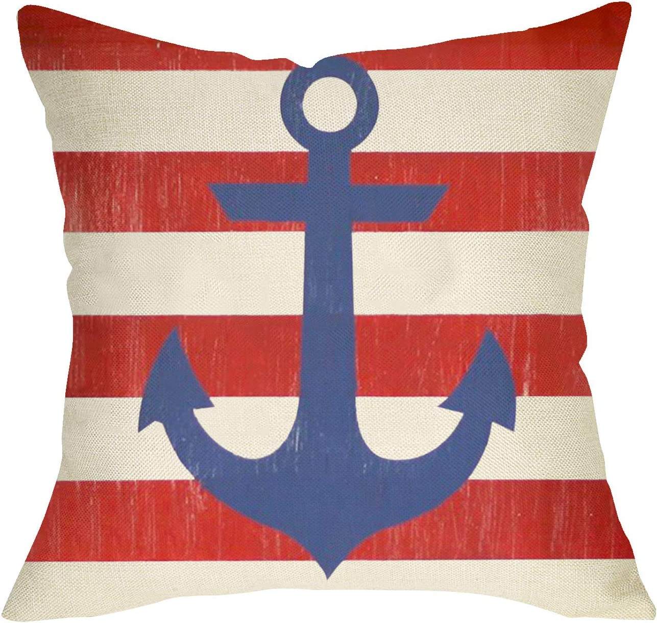 Softxpp Nautical Throw Pillow Cover Anchor Sign, USA Stripes Decorative Cushion Case American Flag Home Decorations, Summer Outdoor Square Pillowcase Red White Blue Decor for Sofa Couch 18 x 18 Inch