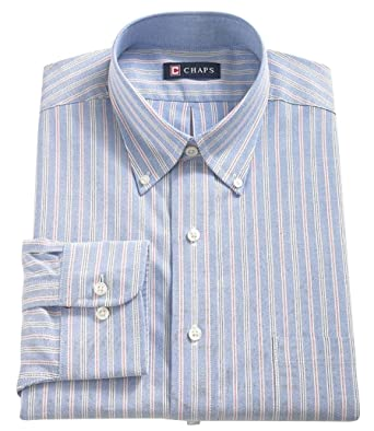 CHAPS Mens Classic Fit Button Down Oxford Dress Shirt Light Blue ...