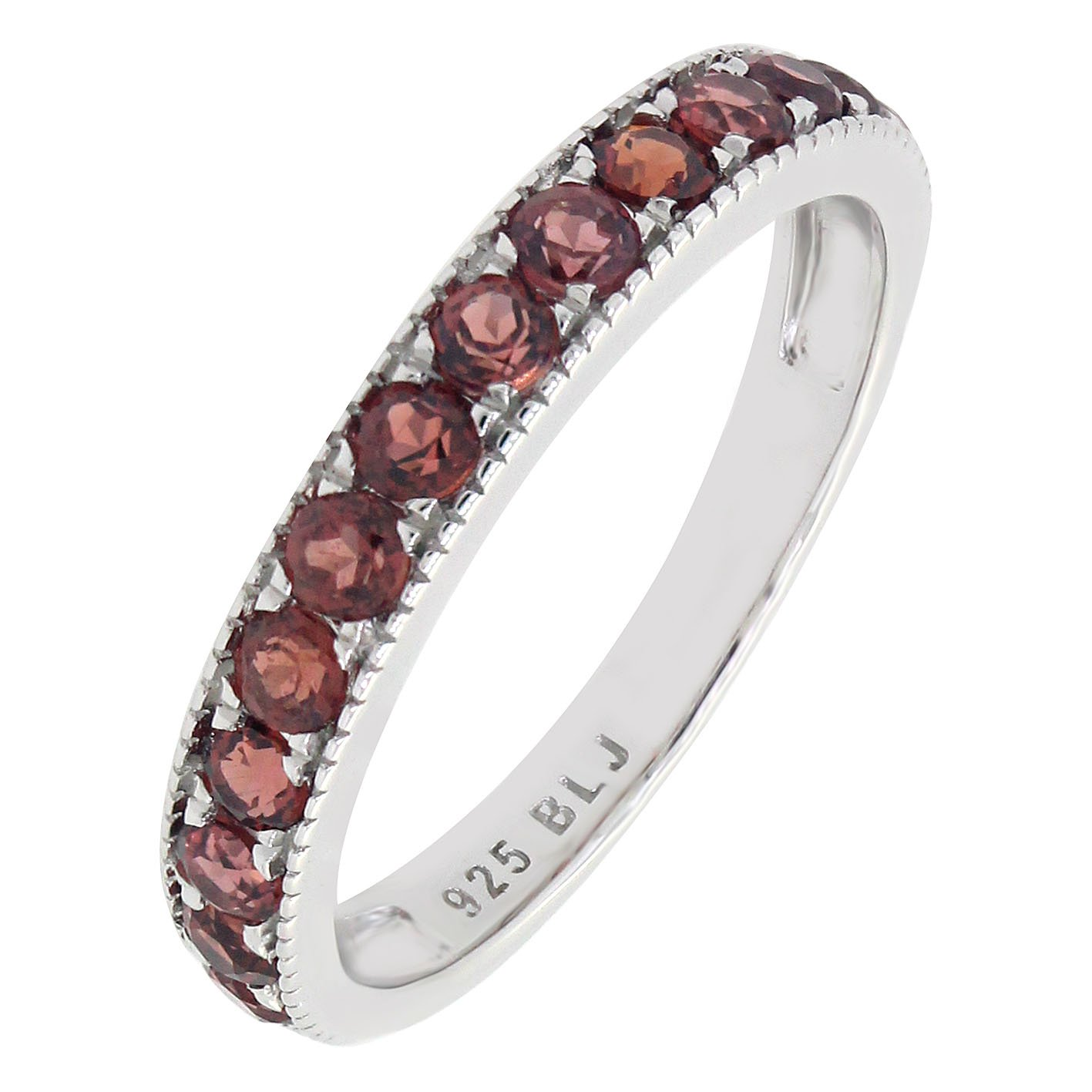 BL Jewelry Sterling Silver Round Cut Genuine Garnet Stackable Eternity Band Ring (1.26 CT.T.W)