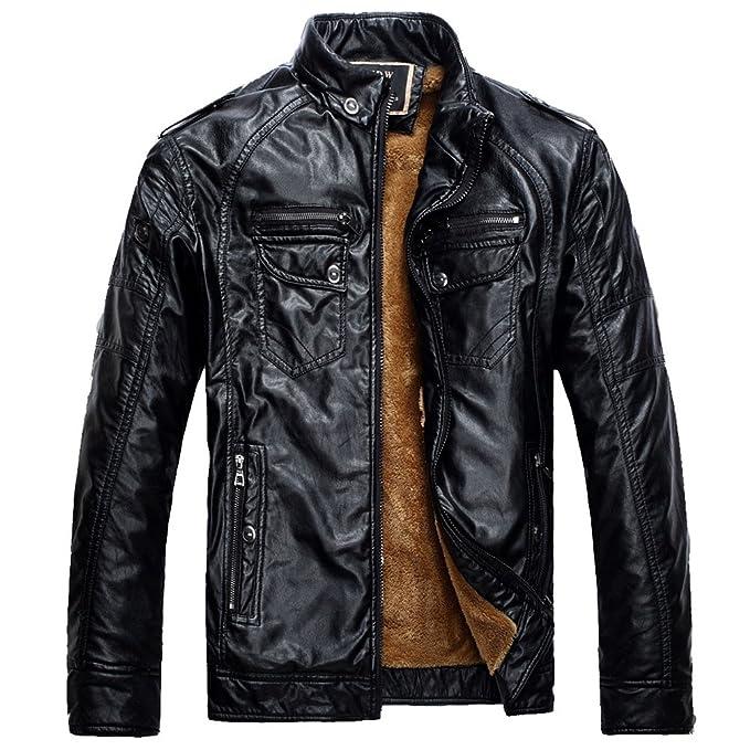 ZKOO Hombre Vellón Forrado Chaqueta De Cuero De Imitación Corta Moto Jacket Cazadora Abrigo Ajustado Caliente Otoño e Invierno