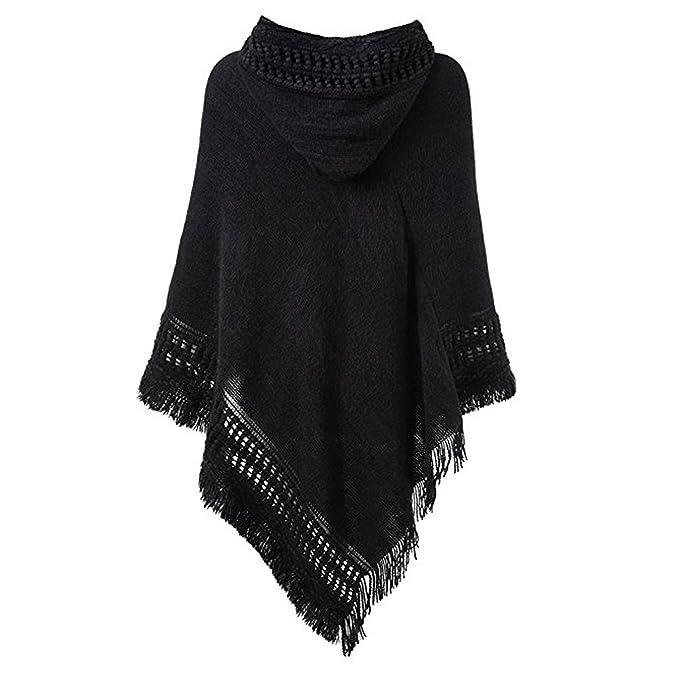 QQI capa con capucha de las señoras con dobladillo con flecos ...