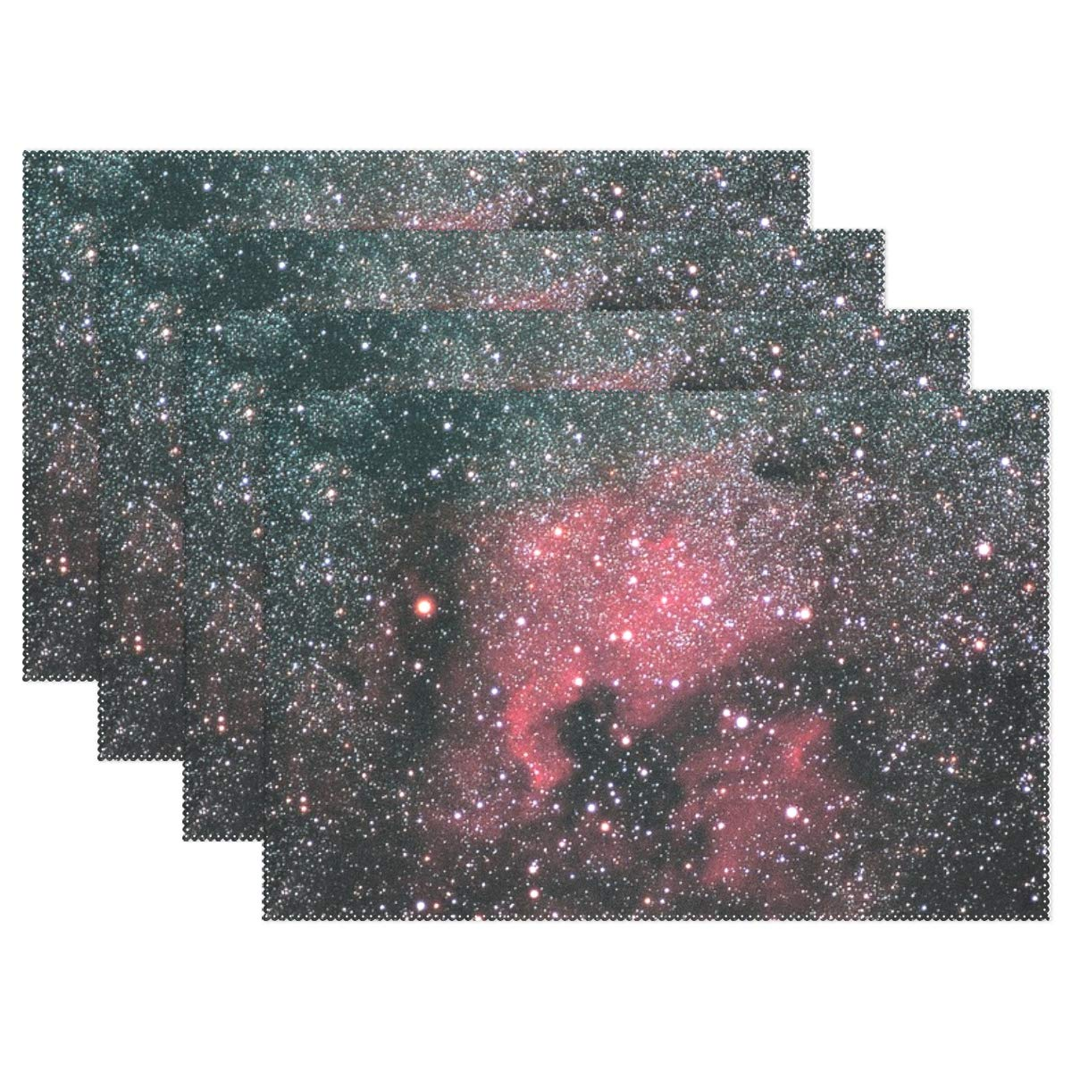 XINGCHENSS North America Nebula NGC 7000 Galaxy Space Placemats Set of 4 Heat Insulation Stain Resistant for Dining Table Durable Non-Slip Kitchen Table Place Mats