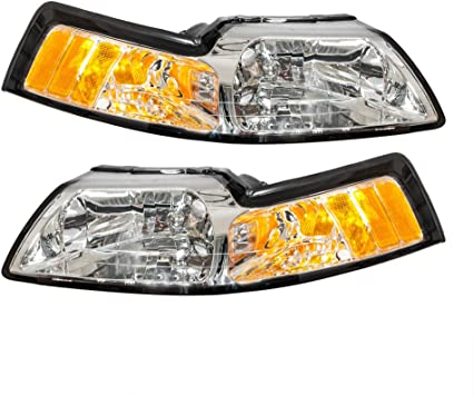 For 1999-2004 Ford Mustang Black Clear Headlights Head Lamps Pair Left+Right