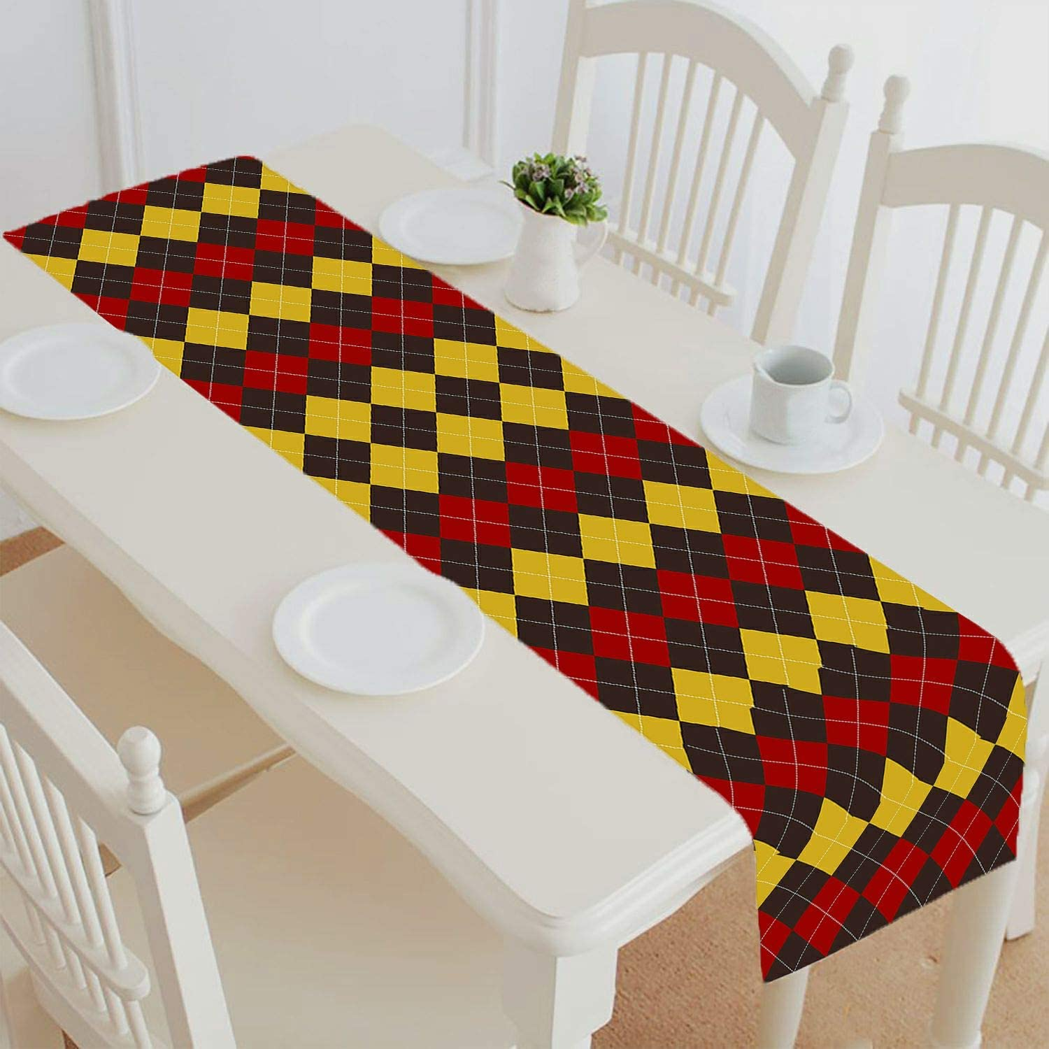 Abphqto Brown Red Yellow Argyle Table Runner Placemat Tablecloth For Home Decor Size 16x72 Inch Home Kitchen