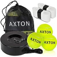 AXTON Solo Tenis Entrenador de rebote de pelota de rebote de tenis con 3 pelotas de tenis, pelota de tenis con rebote…
