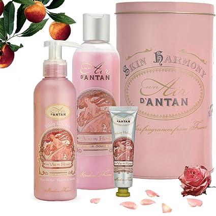 Caja Regalo Belleza Rose Mujer,1 Gel de Ducha 250ml, 1 Crema Corporal Hidratante