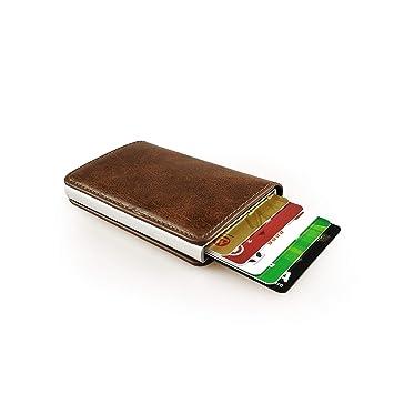 e6ea111d8 sciuU Cartera Tarjeta de Crédito, Bloqueo RFID, Cartera de Aleación de  Aluminio Multiuso Bolsillos, Cuero PU Exterior, Marrón: Amazon.es: Equipaje