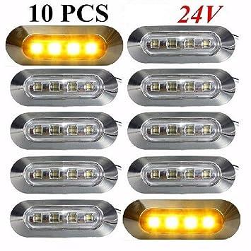 10 x 24 V 4 LED contorno lateral naranja ámbar marcador luces con lente transparente cromo bisel camión tipper coche caravana autocaravana autobús furgoneta ...