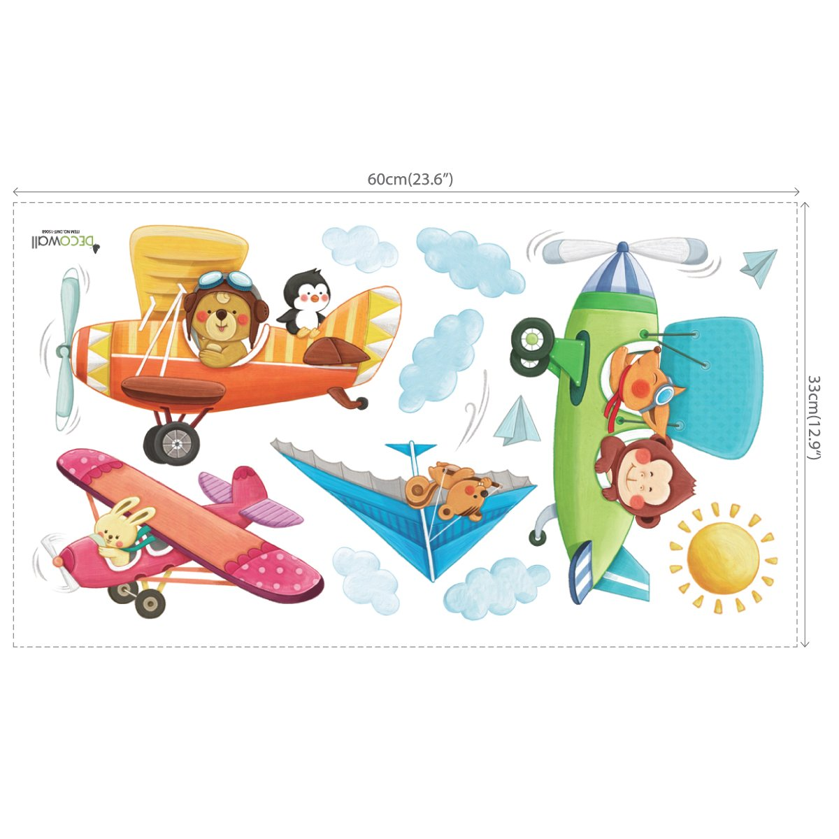 Small DECOWALL DS-8026 Animal Biplanes Kids Wall Stickers Wall Decals Peel and Stick Removable Wall Stickers for Kids Nursery Bedroom Living Room