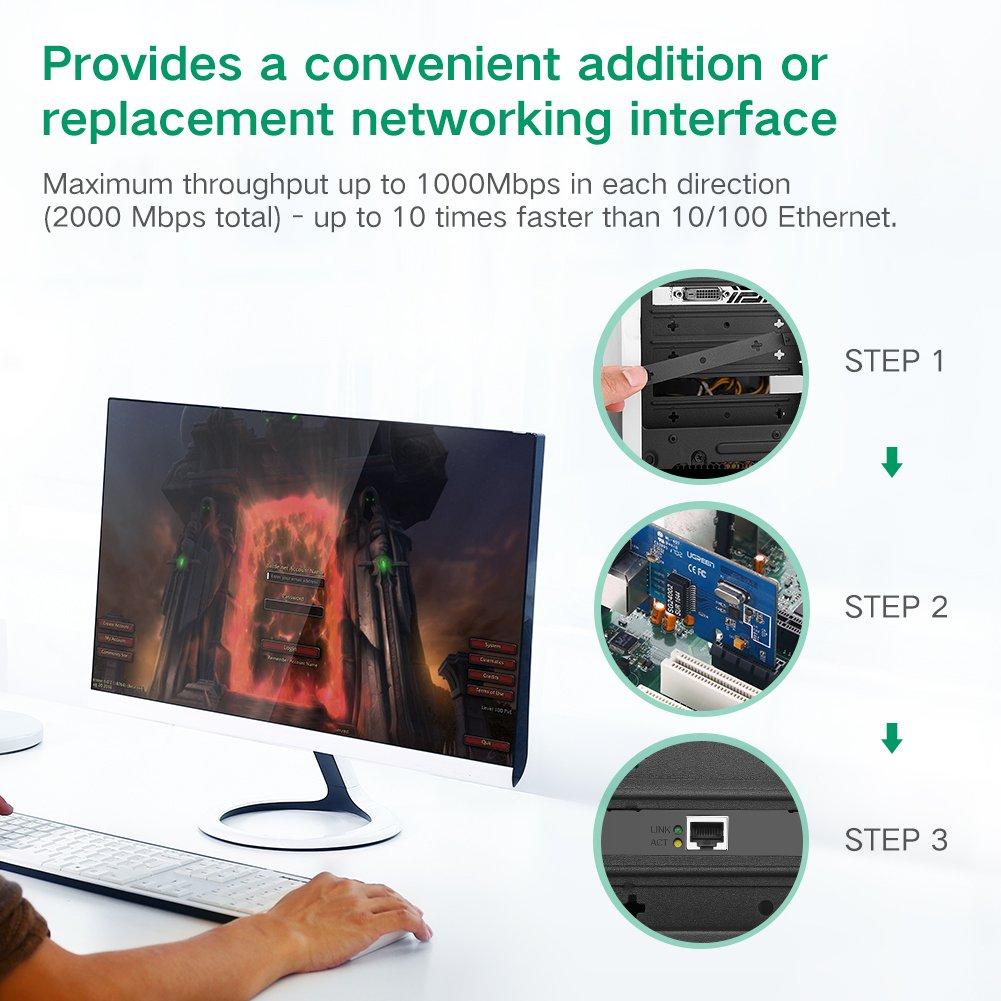 UGREEN Gigabit Ethernet PCI Express PCI-E Network Controller Card 10/100/1000Mbps RJ45 Lan Adapter Converter for Desktop PC by UGREEN (Image #2)