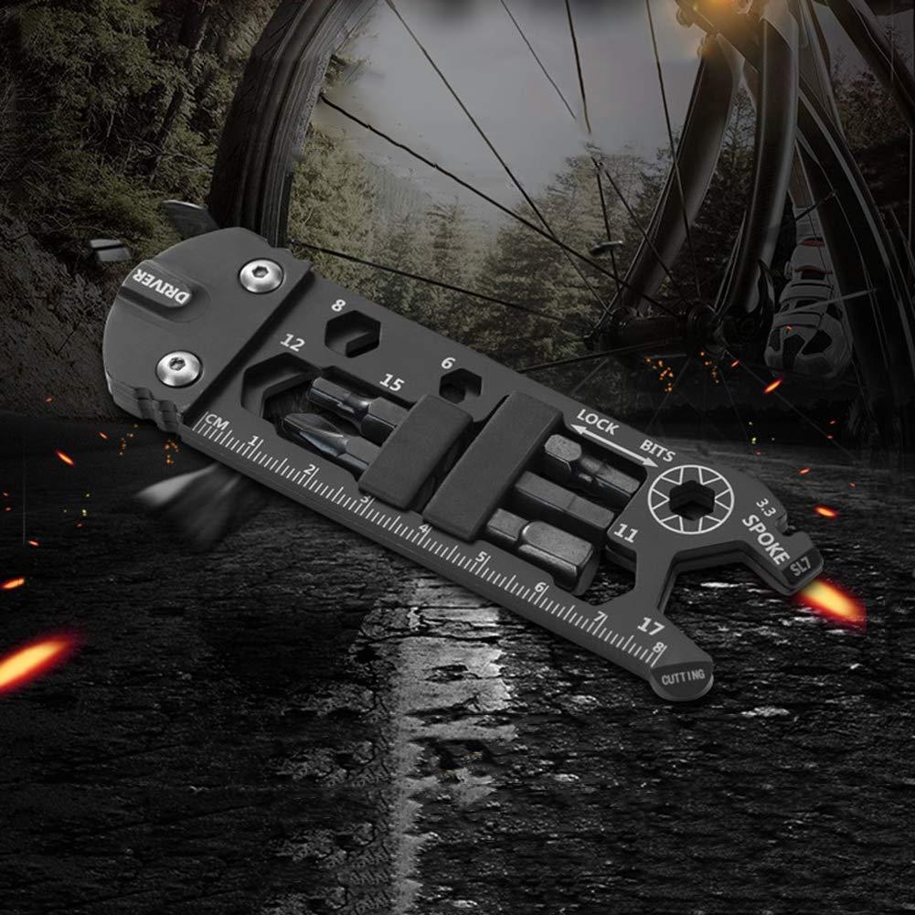 YIDOU 16 en 1 Herramientas de reparaci/ón multifunci/ón para Bicicleta Bicicleta EDC Gadget Equipo para Exteriores Herramientas para Acampar