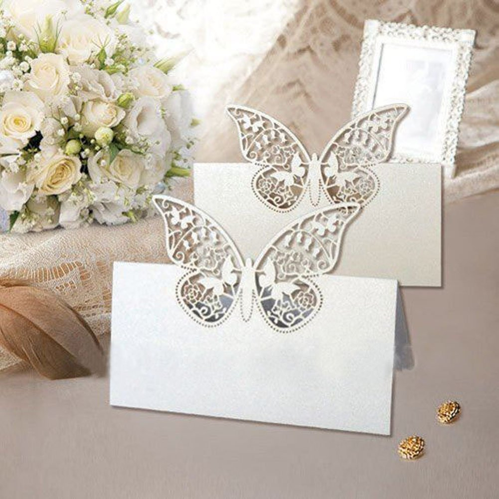 10pcs Laser Cut Pink Butterfly Paper Cut Place Card Holder Name Cards Table Number for Wedding Event Party Decoration dreammadestudio