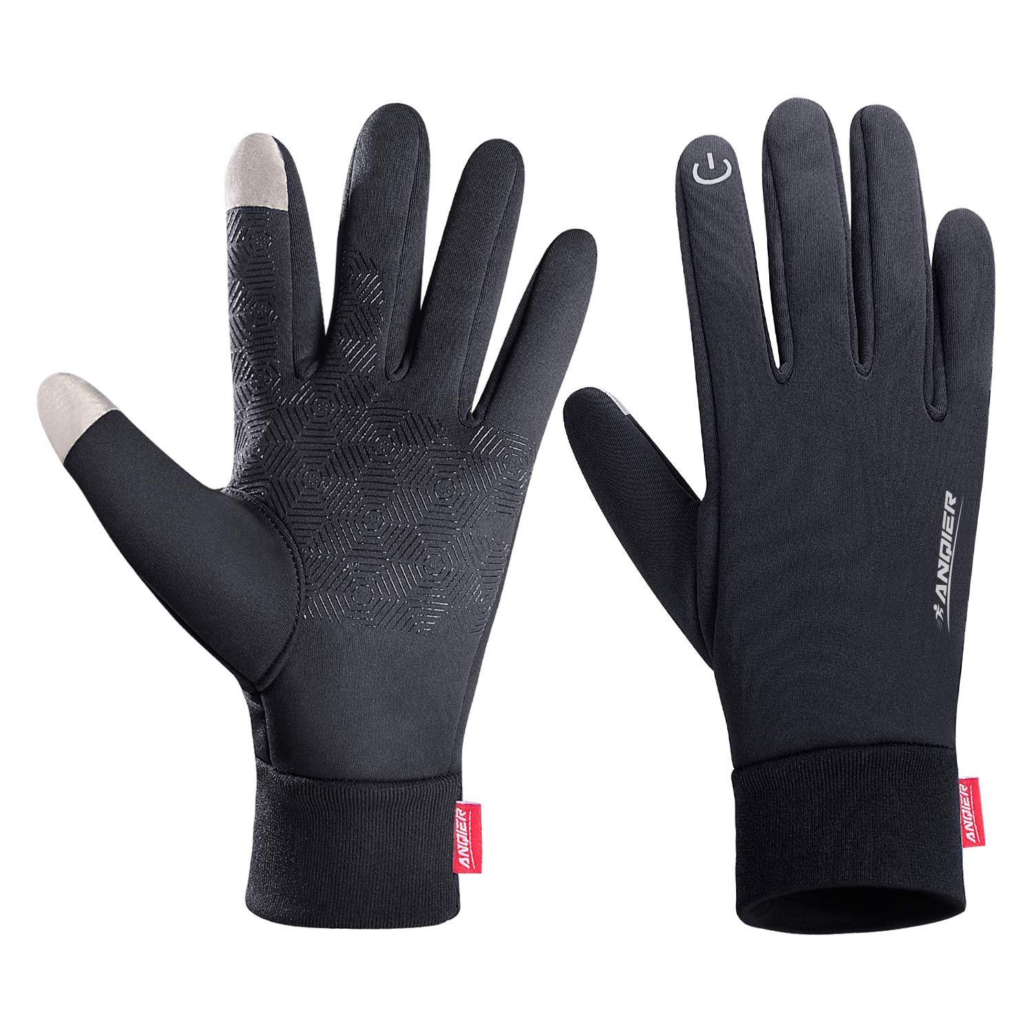 Lanyi Winter Warm Gloves Touchscreen Windproof Anti-slip Outdoor Cycling Work Snowboard Driving Black Gloves Men Women (X-Large)