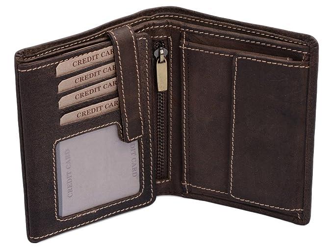 9232e4080ff3 LEAS Portefeuille pour homme et femme format portrait, cuir véritable,  marron Vintage-Collection