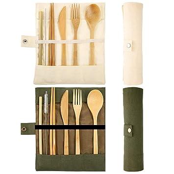 Longsing Cubiertos de Bamboo Juego de Cubiertos Ecológicos 2 ...