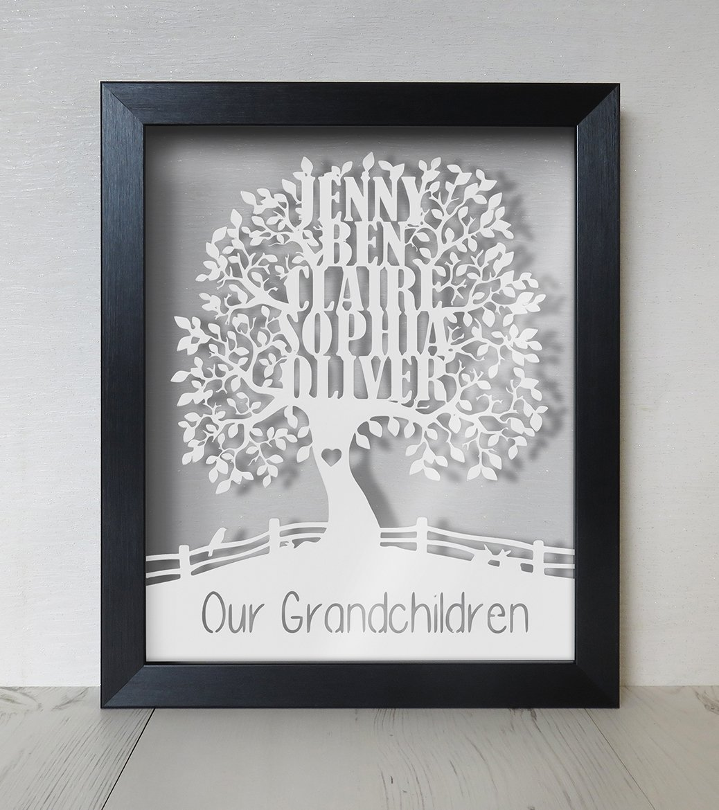 Personalised family tree floating frame paper cut light oak frame personalised family tree floating frame paper cut light oak frame amazon kitchen home jeuxipadfo Images