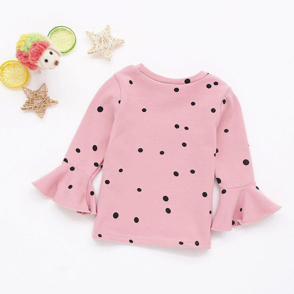 LIKESIDE Baby Girls Soft Long Sleeve Dot Soft Toddler Kids Tops Shirt Clothes
