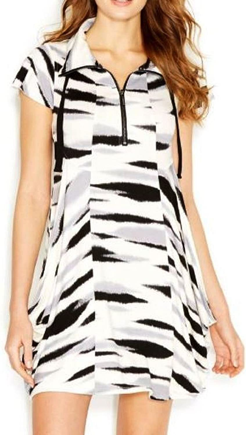Kensie Cap-sleeve Stand-collar Printed Draped Dress, Pebble Combo, Small