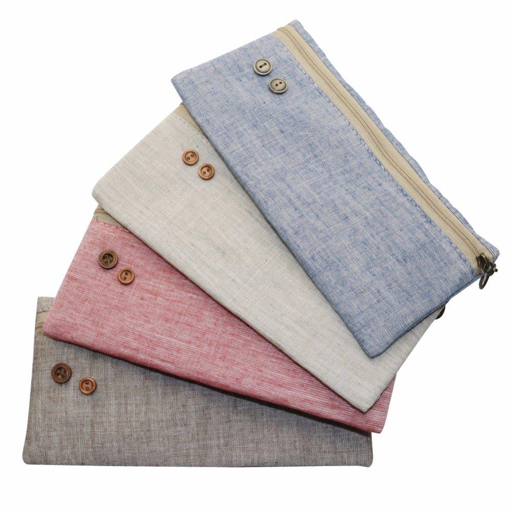 Pure Color Retro Linen Pencil Bag Students Pencil Cases Stationery Material Escolar Office Supplies