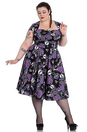 Hell Bunny Plus Size Gothic Purple Black Skeleton Graciela 50s