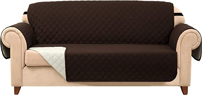 Subrtex Quilted Reversible Couch Slipcover Anti-Slip Furniture Protector Chair Covers for Pets and Kids with Elastic Straps (Sofa, Chocolate)