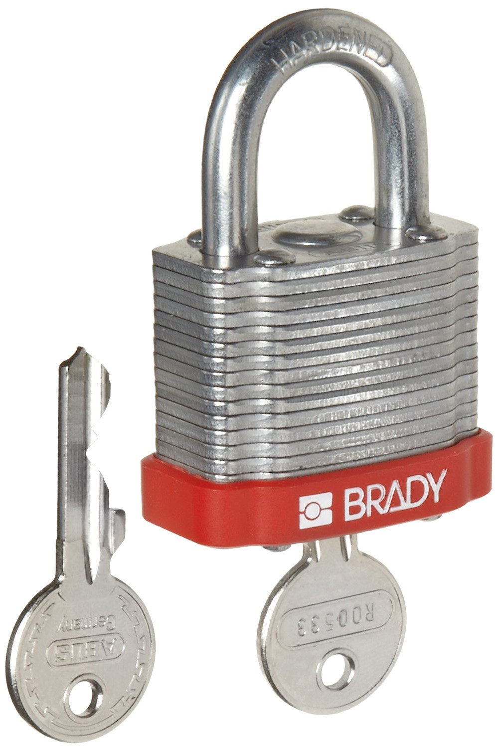 Brady Steel Lockout/Tagout Padlock, Keyed Different, 1-1/3'' Body Length, 3/4'' Shackle Clearance, Red (Pack of 6)