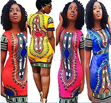 a9fc70a7a94 Creazy Women Traditional African Print Dashiki Bodycon Sexy Short Sleeve  Dress (L2