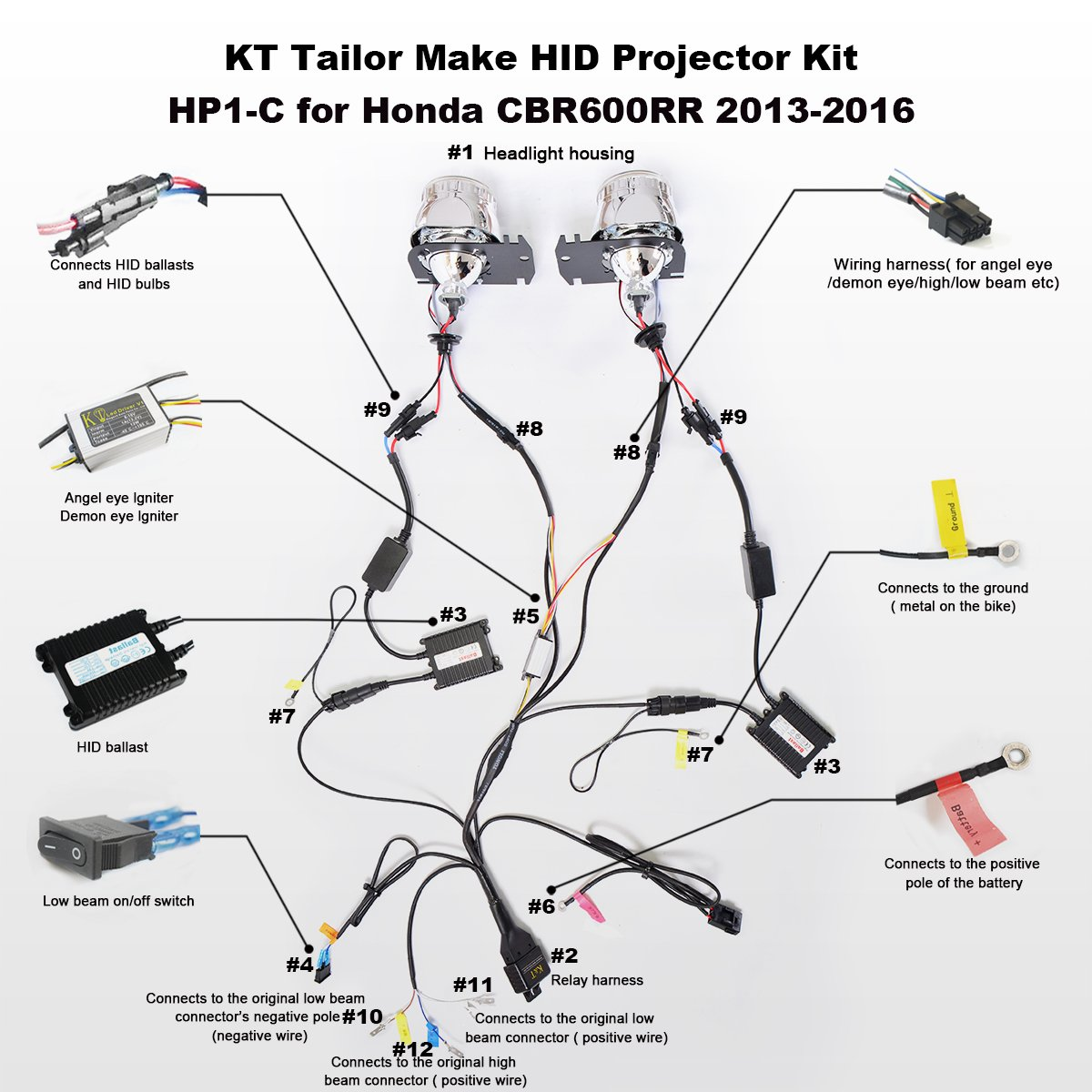 Kt Tailor Made Hid Projector Kit Hp1 C For Honda Eagle Eyes Headlights Wiring Diagram Cbr600rr 2013 2016 White Angel Eye Automotive