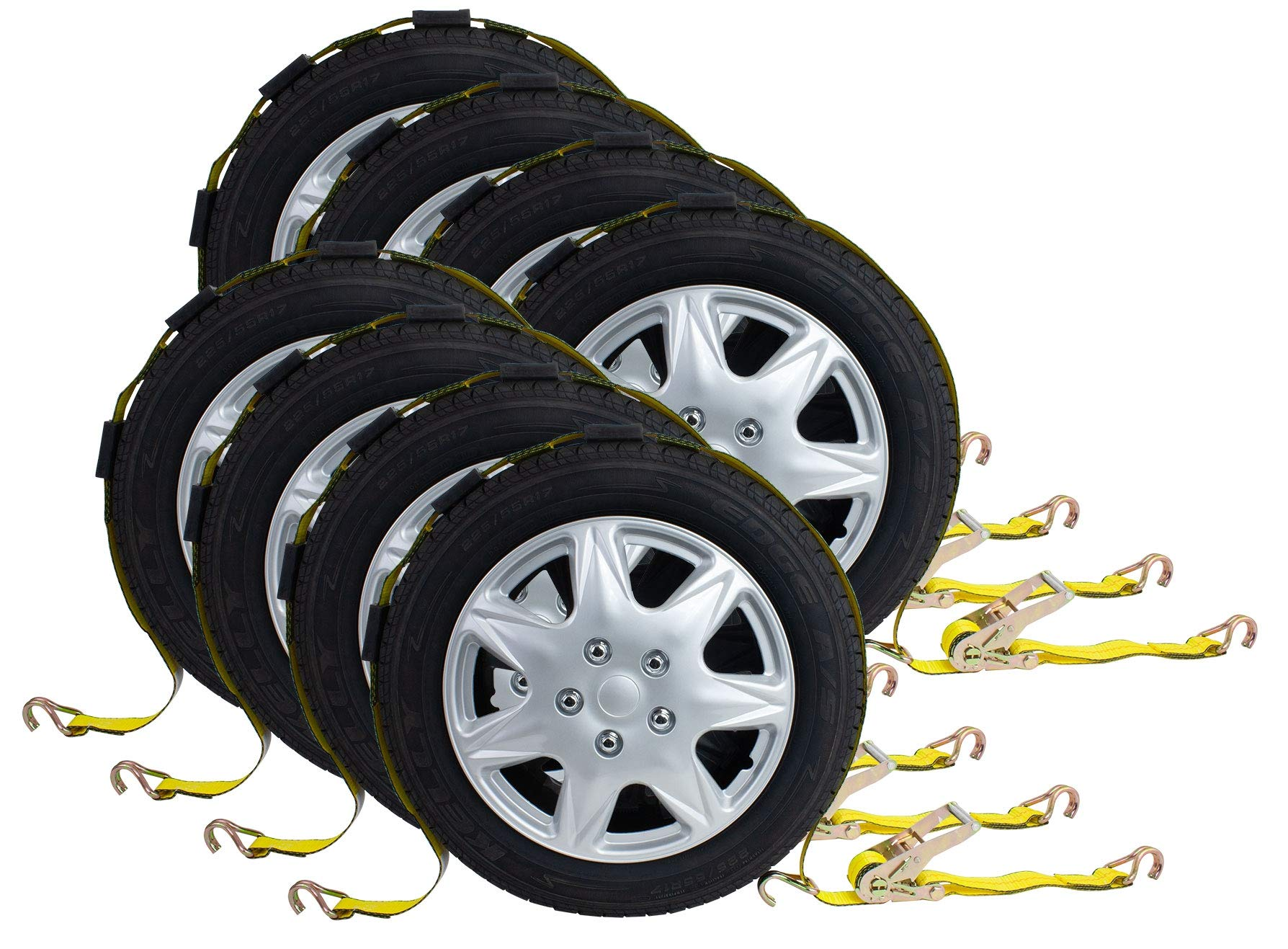 (8 Pack) 2''x10' Ratchet Tire Strap w/ 3 Wire J Hooks and Rubber Blocks