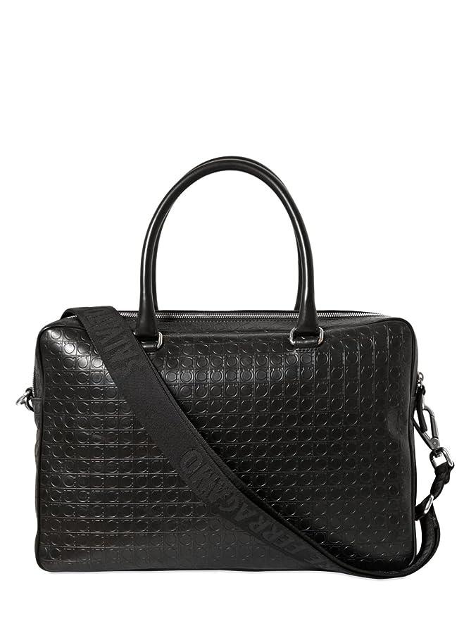 fd423ff1fead Amazon.com | Salvatore Ferragamo Men's Gancio Embossed Business Bag (Deep  Black) | Briefcases