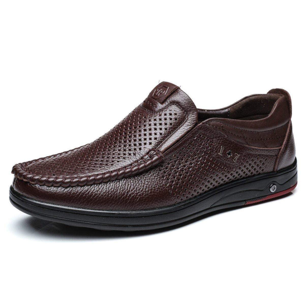Hombres Casual Cuero Sandalias Agujeros Zapatos Huecos Transpirable Antideslizante Zapatos 40|Brown Brown