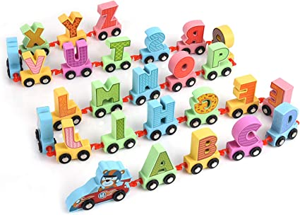 10 LETTER Custom hand-painted alphabet style trains by Vibrant Trains.