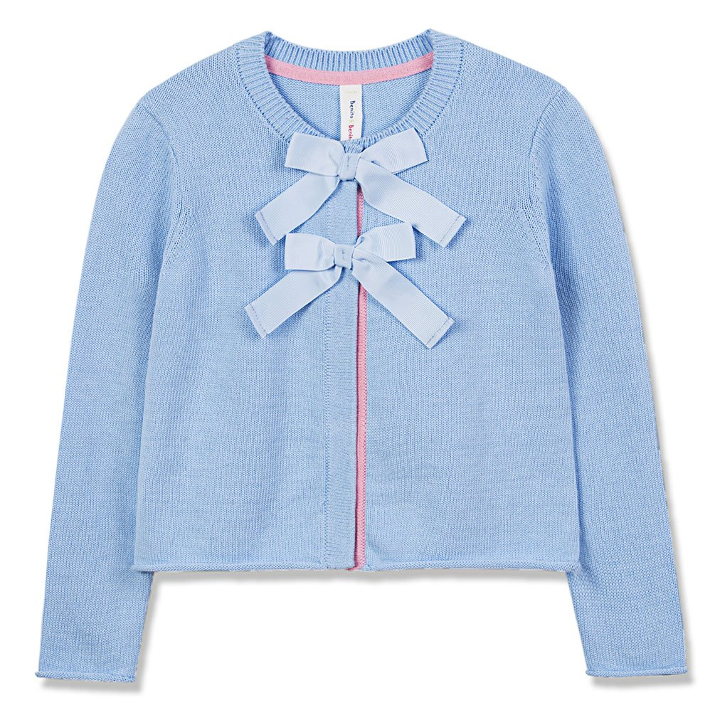 Benito & Benita Girl's Sweater Crew Neck Long Sleeve Cardigan Cotton Bows 2-12Y