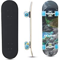 Baybee Wooden Skateboard with Colorful LED Light Up Wheels - Skateboard Complete Longboard Double Kick Skate Board Cruiser 7 Layer Maple Deck for Extreme Sports and Outdoors