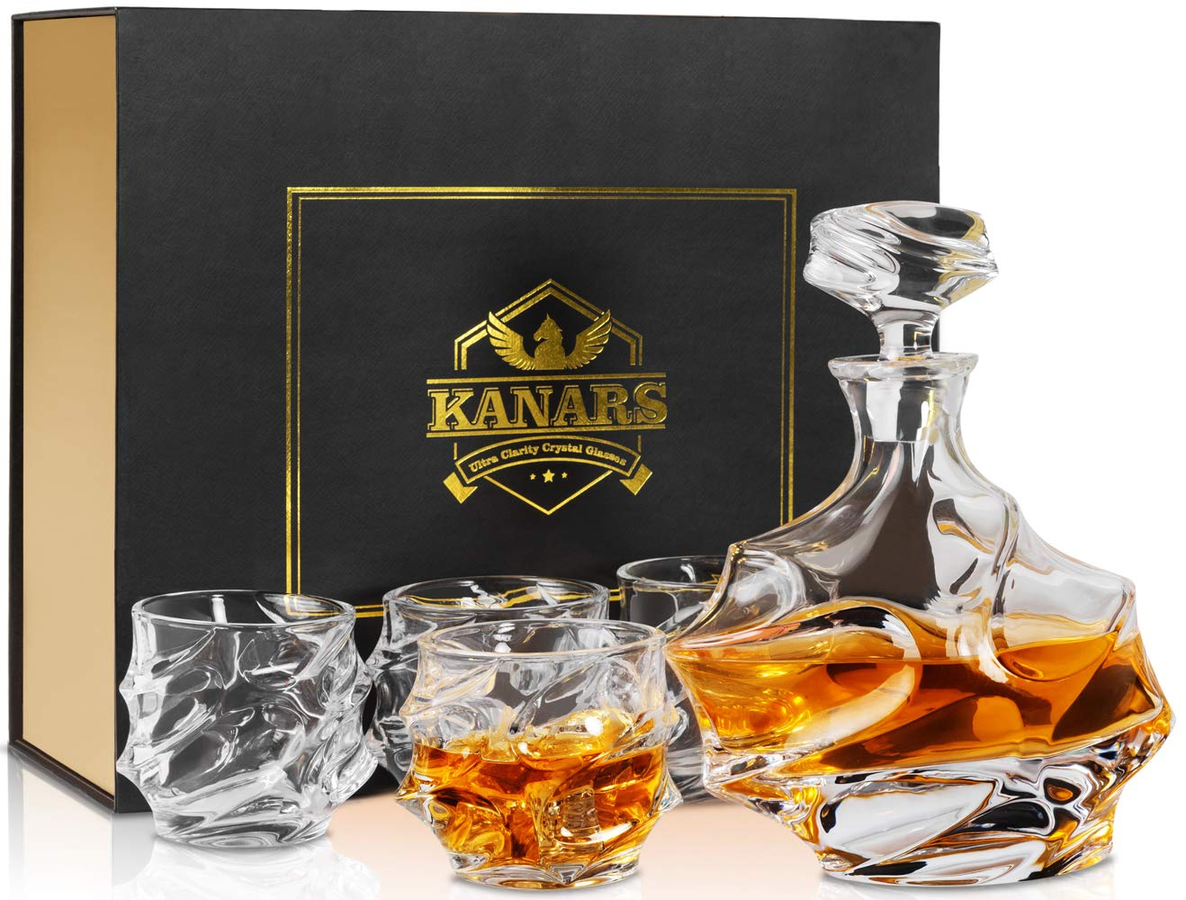 Emperor Whiskey Decanter And Glasses Set With Luxury Gift Box, KANARS Premium Lead Free Crystal Liquor Decanter Set For Irish Whisky, Scotch And Bourbon, 5-Piece by KANARS