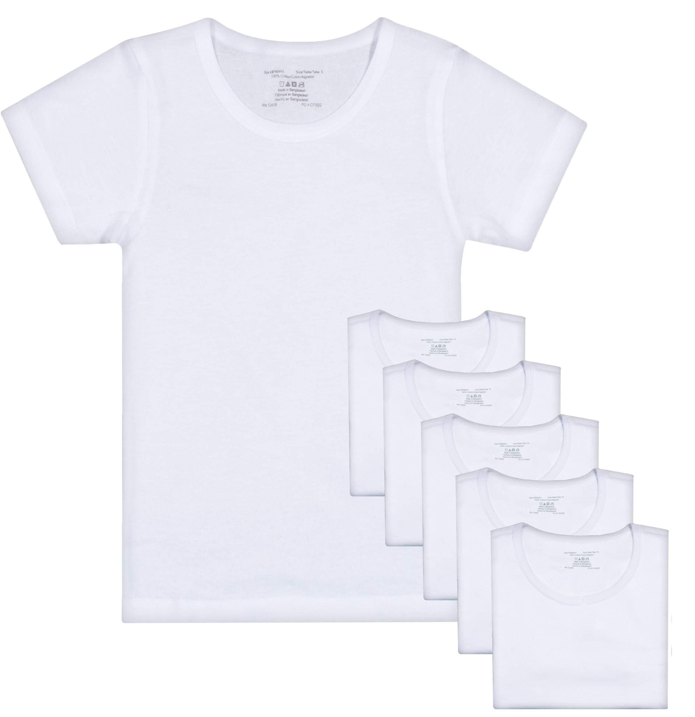 Rene Rofe Girl Crewneck Undershirt (6 Pack), White, Large/10-12'