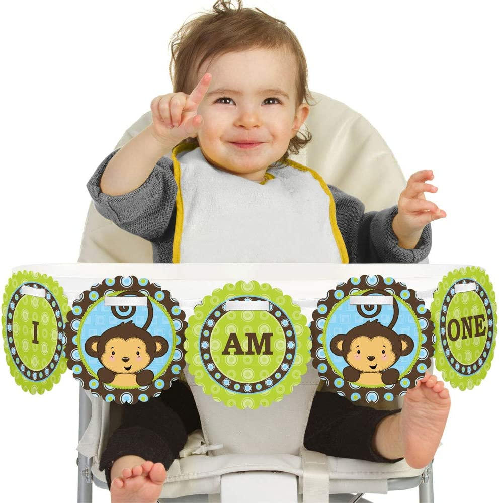 Big Dot of Happiness Blue Monkey Boy 1rst Birthday Highchair Decor - I Am One - First Birthday High Chair Banner