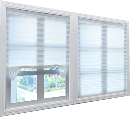 BOBOTOGO White Pleated Shades Pleated Blinds Cordless Pleated Light Filtering Fabric Shade White, 36 in x 72 in, 3 Pack Fits windows 18 – 36