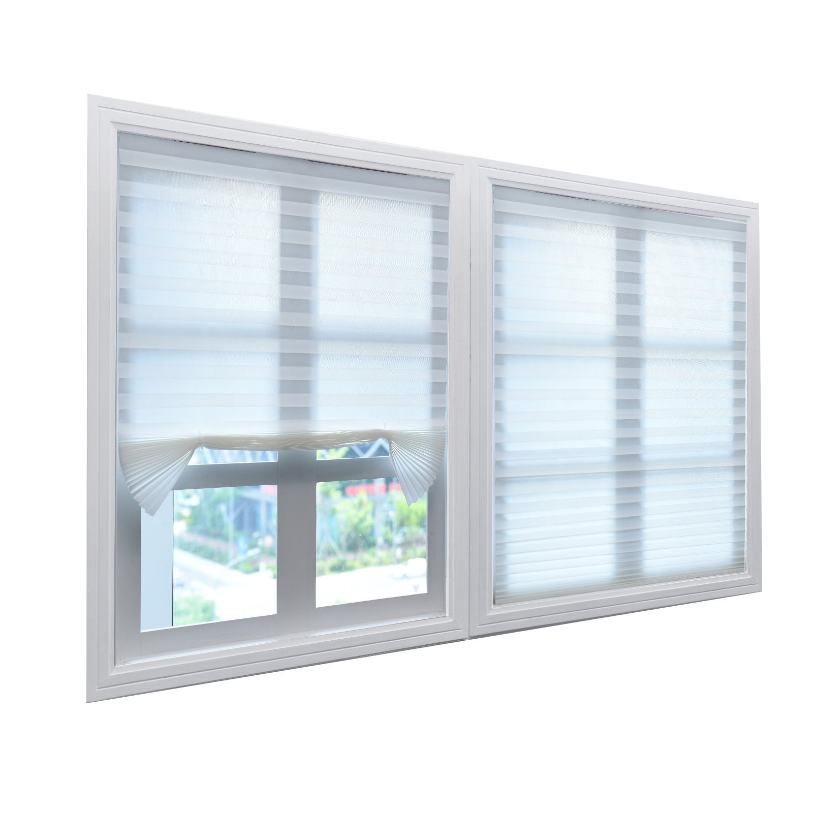 6 Pack Pleated Fabric Window Shade White Light Filtering Shades, 36 Inch x 72 Inch, Easy to Install, with Clips by BOBOTOGO