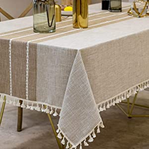 Deep Dream Tablecloths, Stitching Tassel Table Cloth,Cotton Linens Wrinkle Free Anti-Fading,Table Cover Decoration for Kitchen Dinning Party(Rectangle/Oblong, 55''x86'',6-8 Seats, Light Coffee)