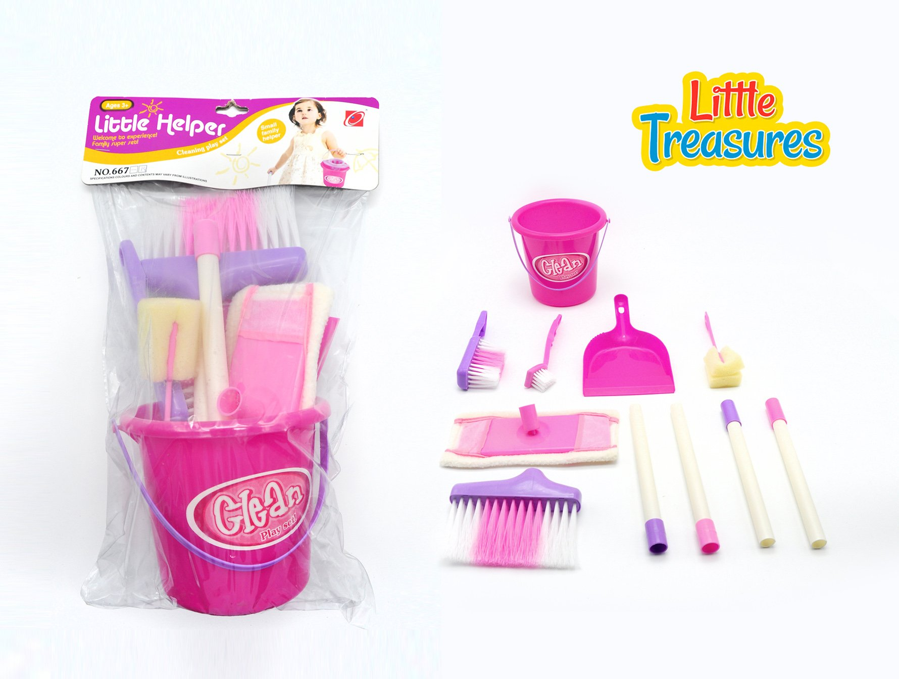 Little Treasures Little Helper 8 Piece Pretend and Play Cleaning Play Set with Bucket, Broom, Floor mop, Dustpan and Brush, Sponge and Dish Brush by Little Treasures