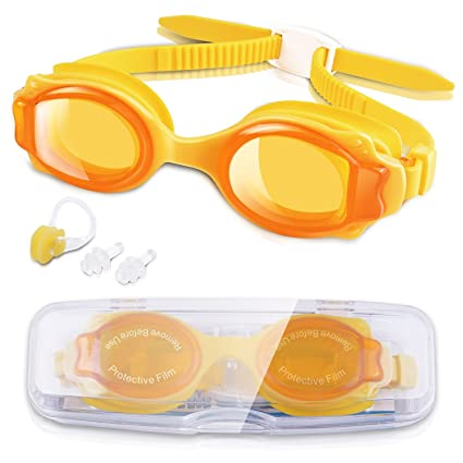 Clear Lens SWIMMING GOGGLES Beach Pool Swim Silicone Child Adjustable Strap NEW