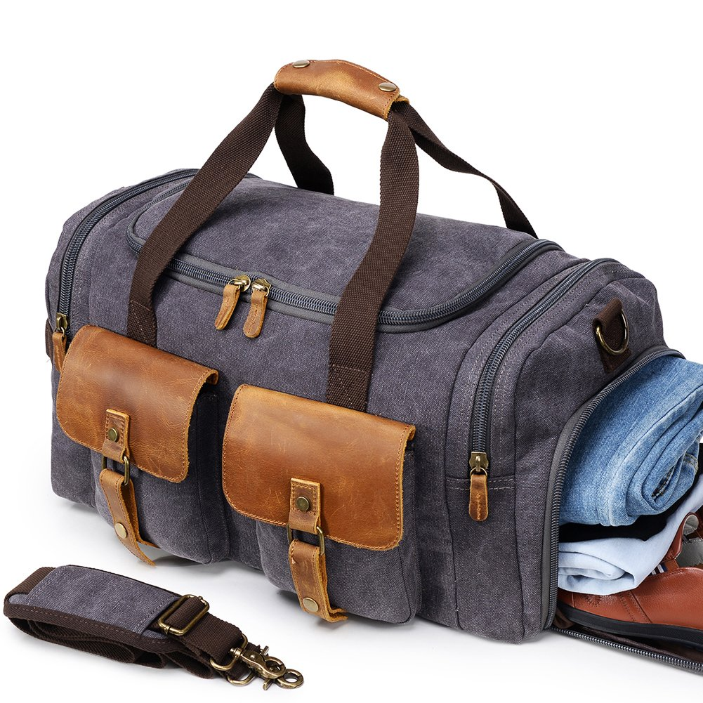 Canvas Duffle Bag Overnight Bags for Men Weekend Travel Duffel Weekender Bags Canvas Leather Gym Travel Shoulder Tote Carry On Luggage Large Shoe Compartments Airplanes,Grey College Student Gift
