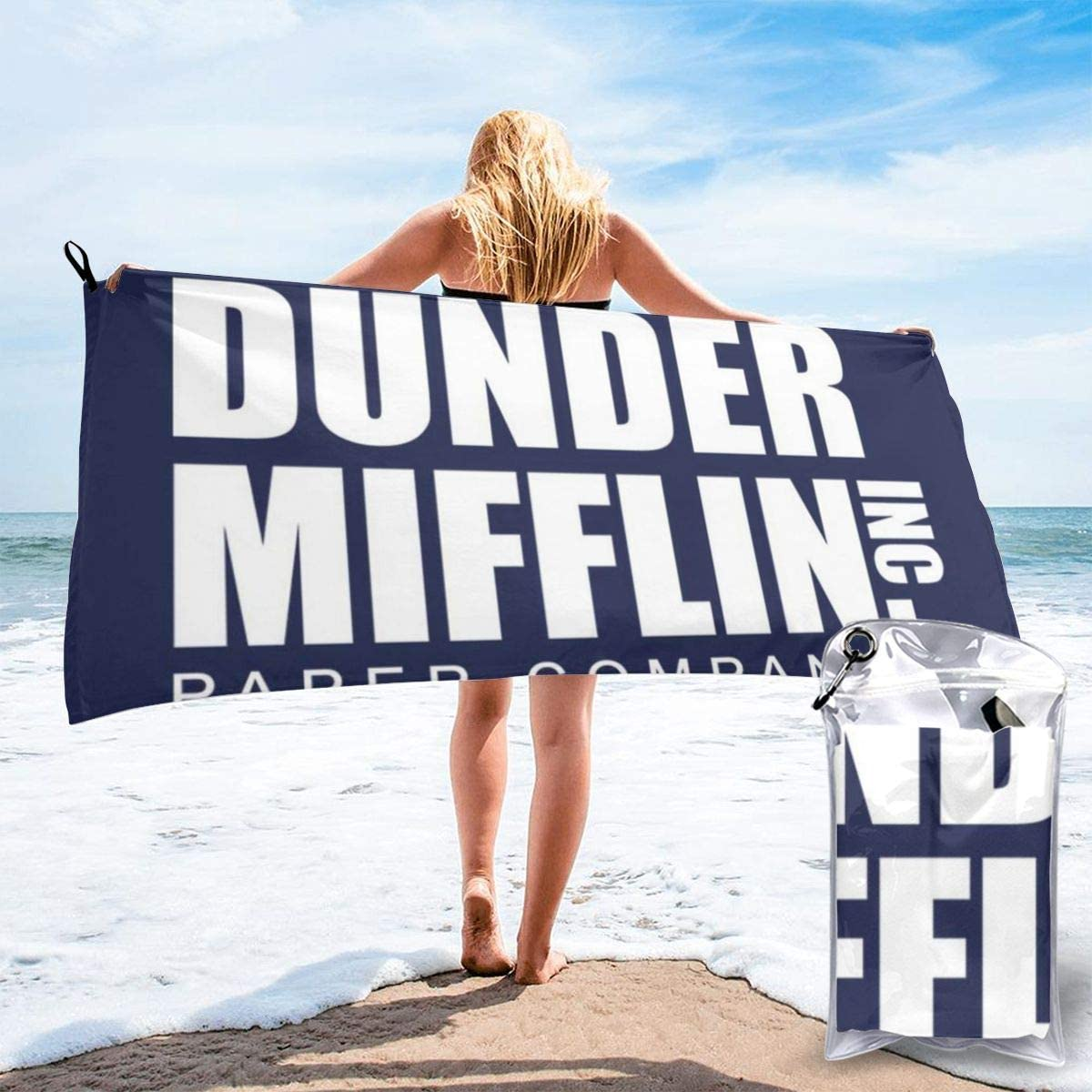 Dunder Mifflin Paper Company The Office USA, Trucker Cap Microfiber Large Beach Towel, Convenient And Foldable, Equipped With Carabiner For Easy Storage, Soft Bath Towel, Quick-drying Shower Towel