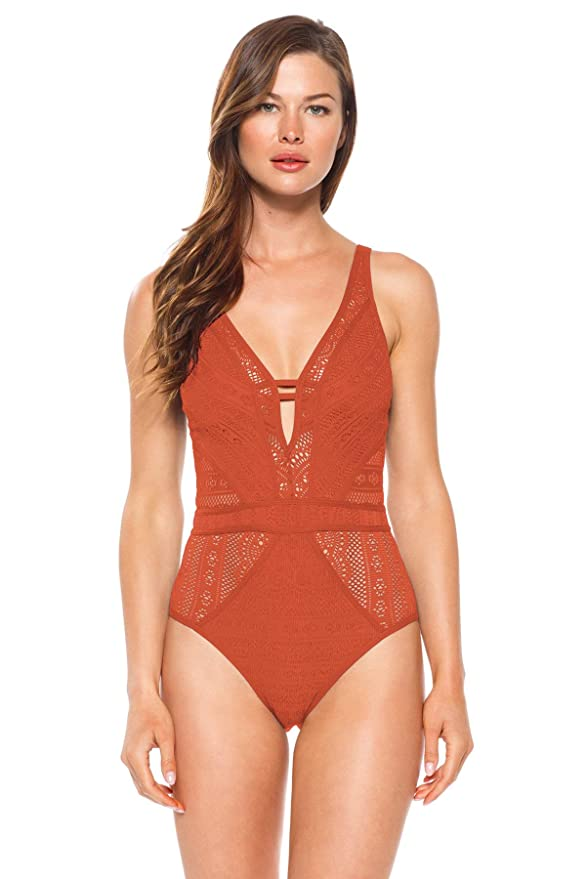 8ab7c01ea56 Becca by Rebecca Virtue Women s Color Play Plunge One-Piece at Amazon  Women s Clothing store