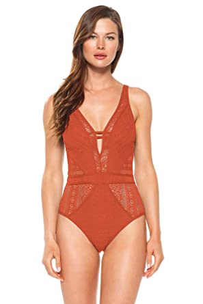 844a659e4887 Becca by Rebecca Virtue Women s Keyhole Plunge One Piece Swimsuit Swimsuit  Clay XS