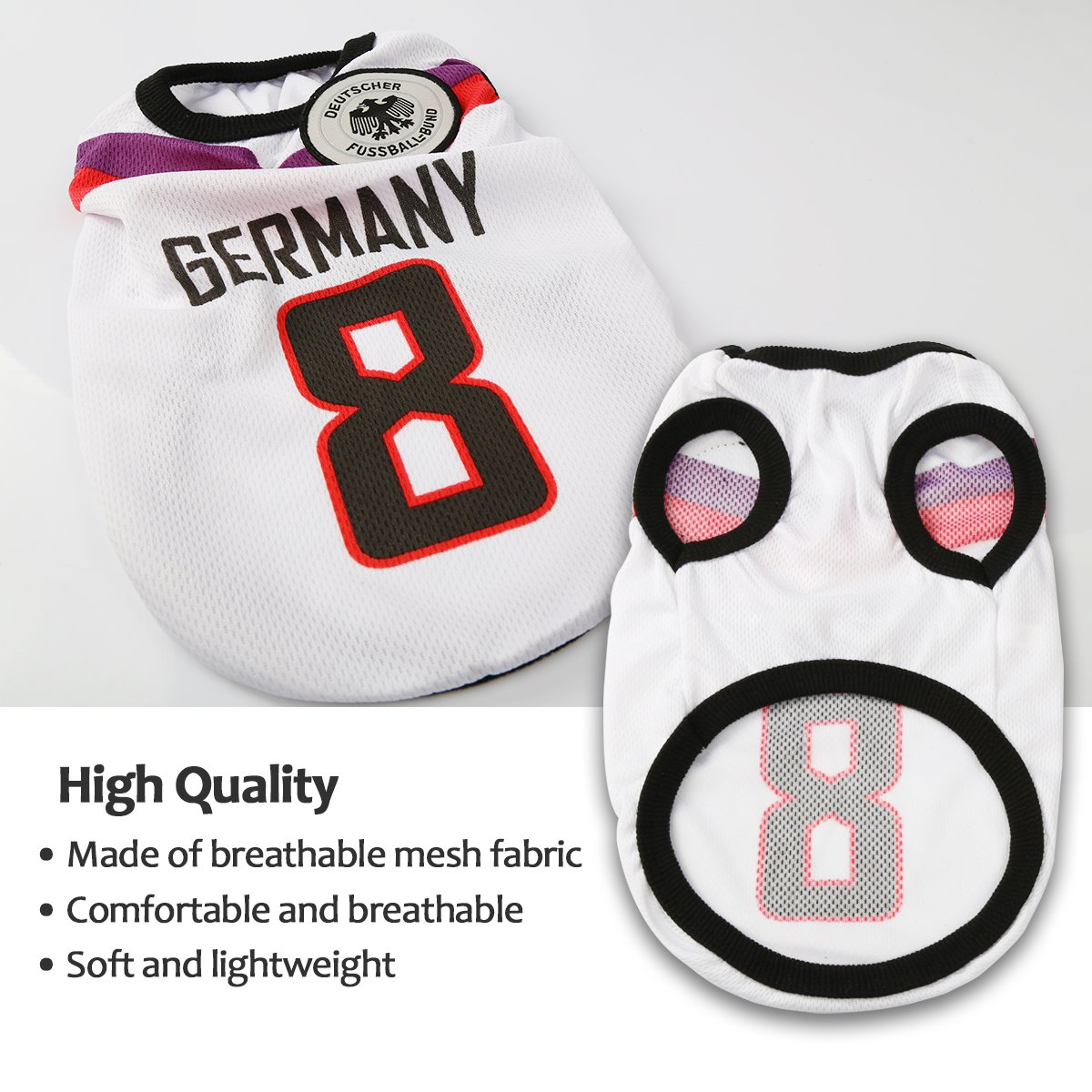 SymbolLife Dog Clothes Football T-Shirt Dogs Costume National Soccer World Cup FIFA Jersey for Pet Germany
